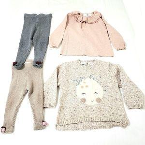 Zara Knit Sweater and Legging Ribbed Tights Bundle